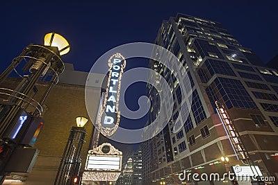Broadway Portland Oregon at Evening Blue Hour