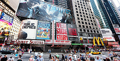 Broadway at Times Square Editorial Stock Image