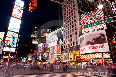 Broadway at Times Square by Night Editorial Image