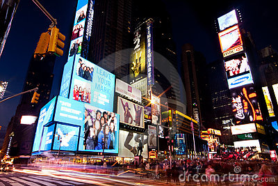 Broadway at Times Square by Night Editorial Stock Photo