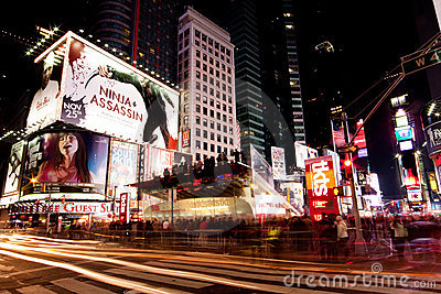 Broadway at Times Square by Night Editorial Photo