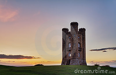 Broadway Tower at sunset, Cotswolds, UK