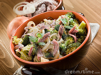 Broccoli anchovy and onion