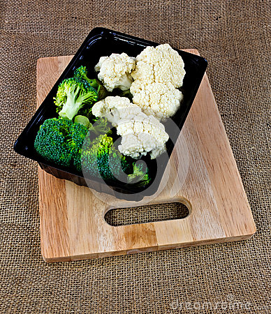 box of Broccoli and Cauliflower