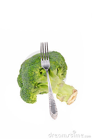 Broccoli with fork isolated on white Stock Photo