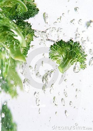 Broccoli immersed in water