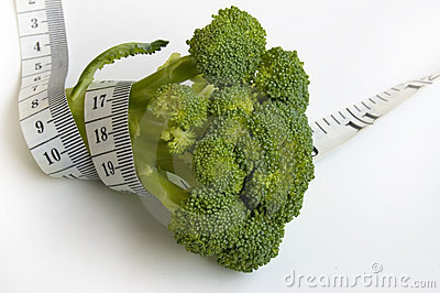 Broccoli with measuring tape