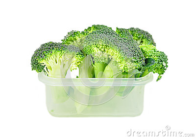 Broccoli in a plastic container.
