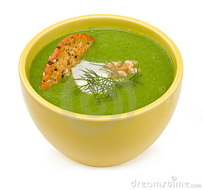 Free Broccoli Soup In Yellow Bowl Royalty Free Stock Photography - 4614017