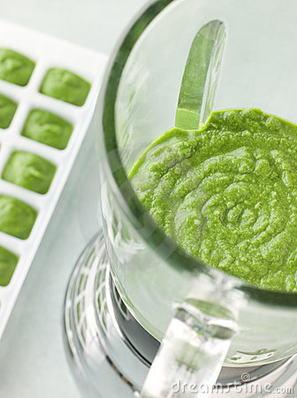 Broccoli and Spinach baby food in blender
