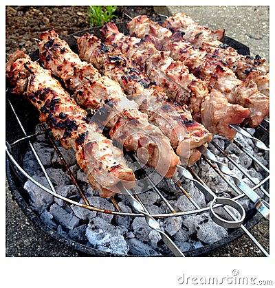 brochettes de poulet sur un barbecue image libre de droits image 27935226. Black Bedroom Furniture Sets. Home Design Ideas