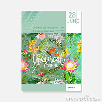 Free Brochure Template. Tropical Palms Summer Graphic Background, Exotic Floral Banner, Invitation, Flyer Or Card. Modern Front Page Stock Photo - 92509940