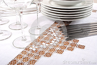 Broderad tablecloth