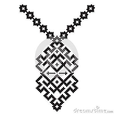 Broderie aztèque de collier de vecteur pour des femmes de mode Modèle tribal de pixel pour la copie ou le web design bijoux, collier, copie sur le tissu.