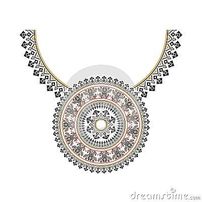 Broderie ethnique de collier de vecteur pour des femmes de mode Modèle tribal de pixel pour la copie ou le web design bijoux, collier, copie sur le tissu.