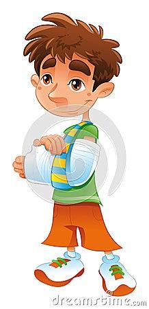 Funny Thank You Animation Broken Arm - Boy Stock...