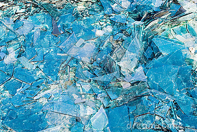 Broken blue glass background