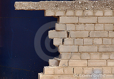 Broken brick wall close up