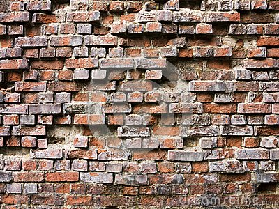 Broken brick wall