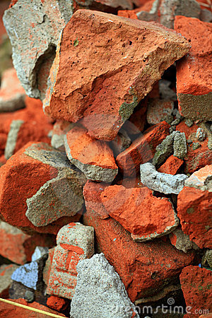 Broken bricks background