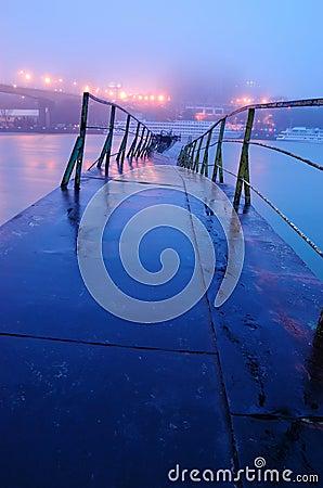 The broken bridge through the river. A night view
