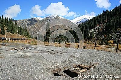 Broken bridge on road to Big Almaty Lake