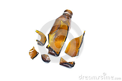 Broken brown bottle