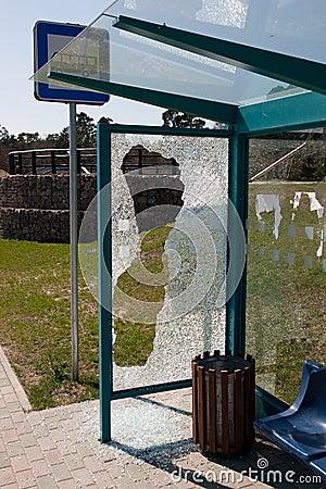 Broken bus stop.
