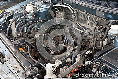Broken car engine