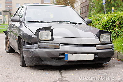 Broken car front