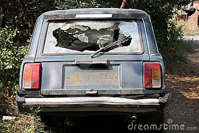 Broken car glass