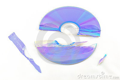 Broken CD Isolated on White