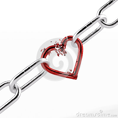 Free Broken Chain With Red Heart Element Royalty Free Stock Photography - 45620707