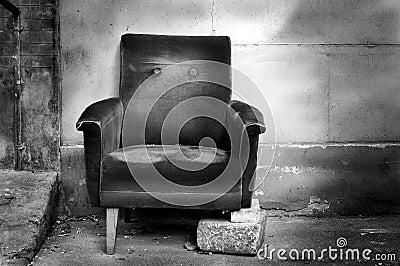 Broken chair b/w