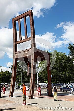 Broken Chair in Geneve Editorial Stock Image