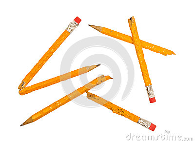 Broken Chewed Pencils XXXL Isolated