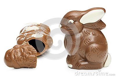 Broken Chocolate Santa Clause And Easter Bunny