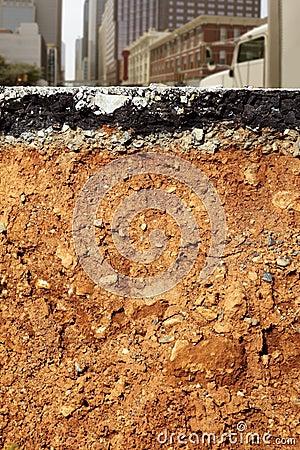 Broken city road excavation cross section