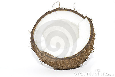 Broken coconut isolated on whi