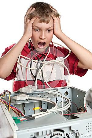 Broken computer. The child is experiencing.