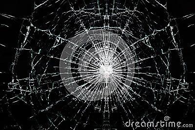 Broken cracked glass