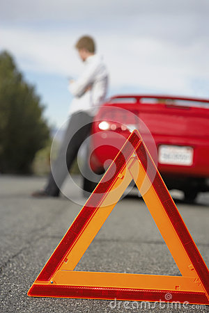Free Broken Down Car With Red Warning Triangle Stock Photos - 30842793