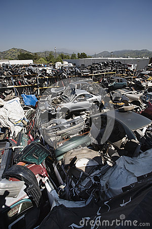 Broken Down Cars At Junkyard