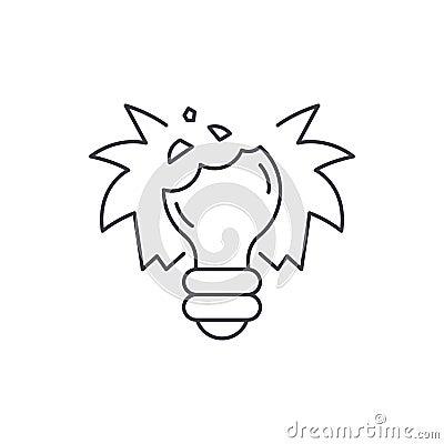 Broken dreams line icon concept. Broken dreams vector linear illustration, symbol, sign Vector Illustration