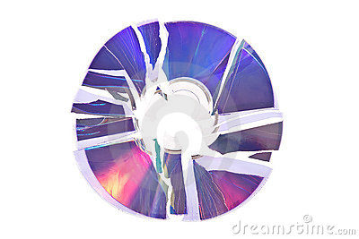 Broken DVD / CD isolated on white