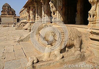 Broken elephant statues