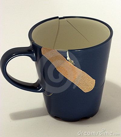 Broken Fixed Now Coffee Cup Stock Photography Image