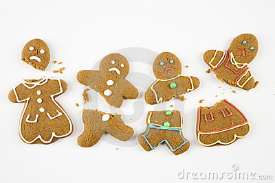 Broken gingerbread cookies.