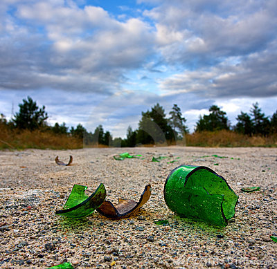 Broken glass bottle