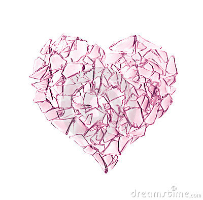 Broken glass heart